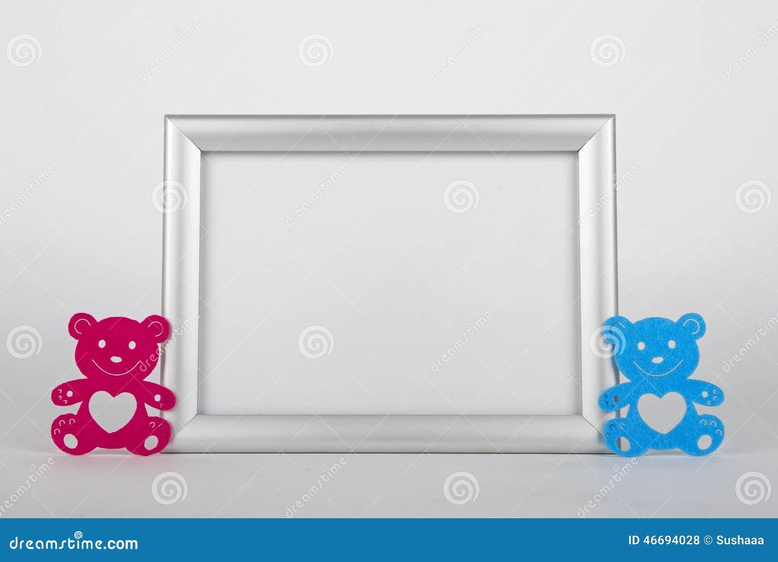 Fotorahmen Und Zwei Dekorative Bären Stockfoto - Bild von farbe ...