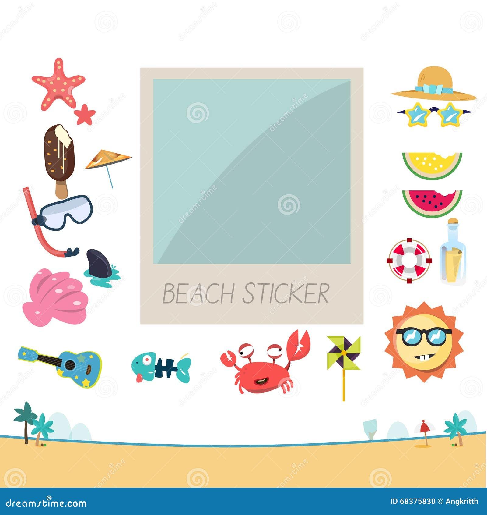 Fotoram med strandklistermärkeuppsättningen som ska dekoreras polaroid Sommar