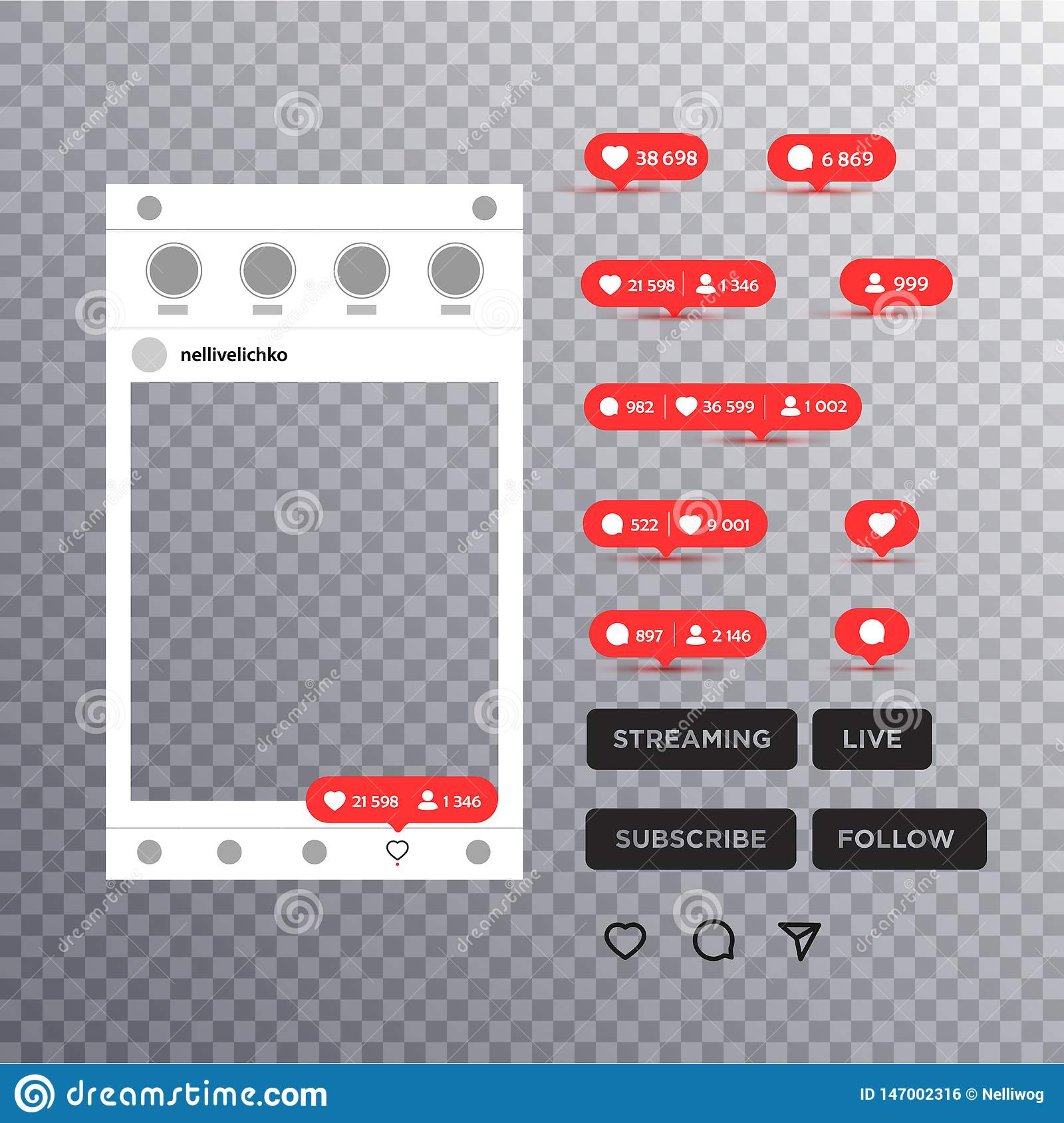 Fotoram som inspireras av instagram f?r att dela f?r v?ninternet Fotomodell f?r socialt n?tverk p? tom bakgrund