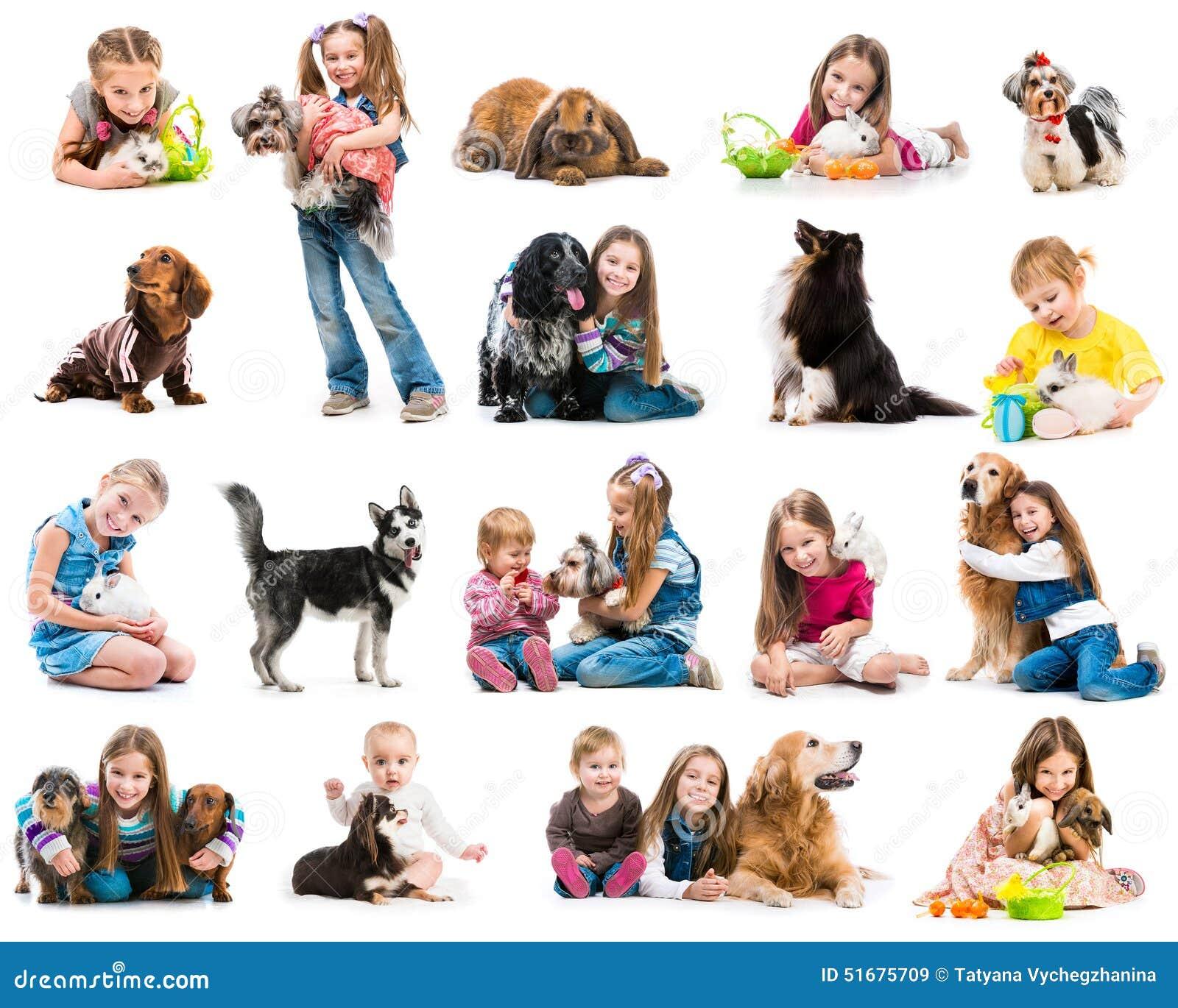 Fotos de la colección de niños jovenes con los perros y