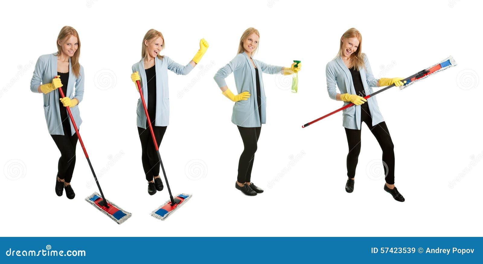 Fotos de la señora de la limpieza joven