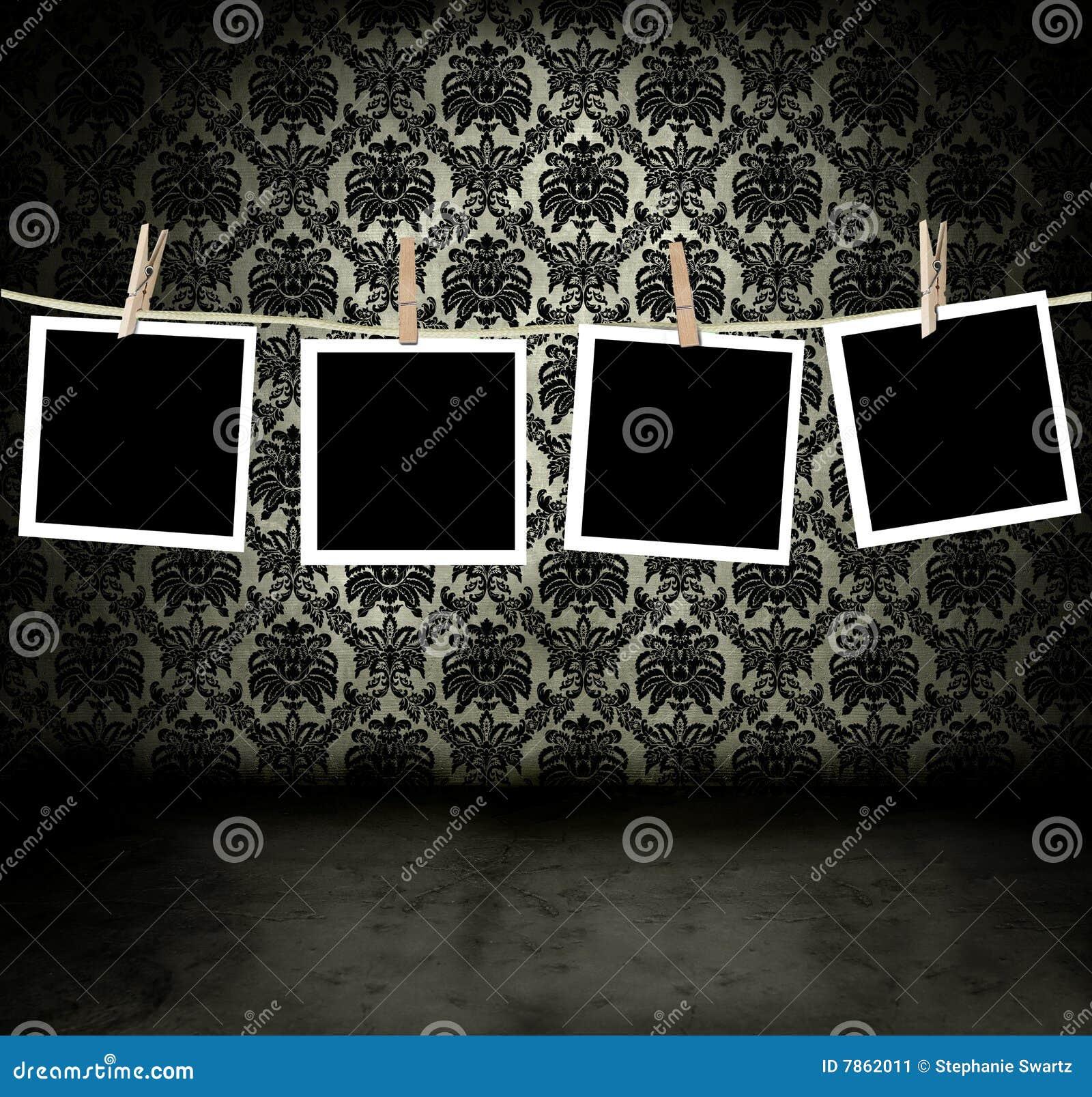 Fotos Que Cuelgan En Un Cuarto Oscuro Stock de ilustración ...