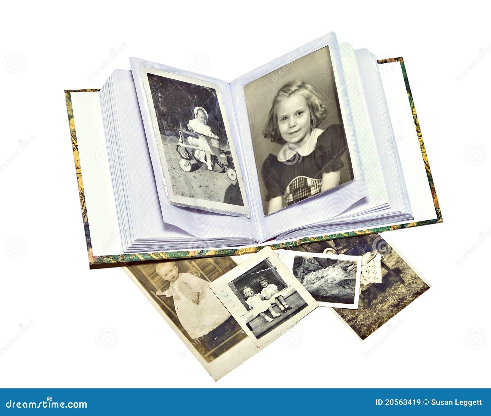 Fotos y libro viejos de familia