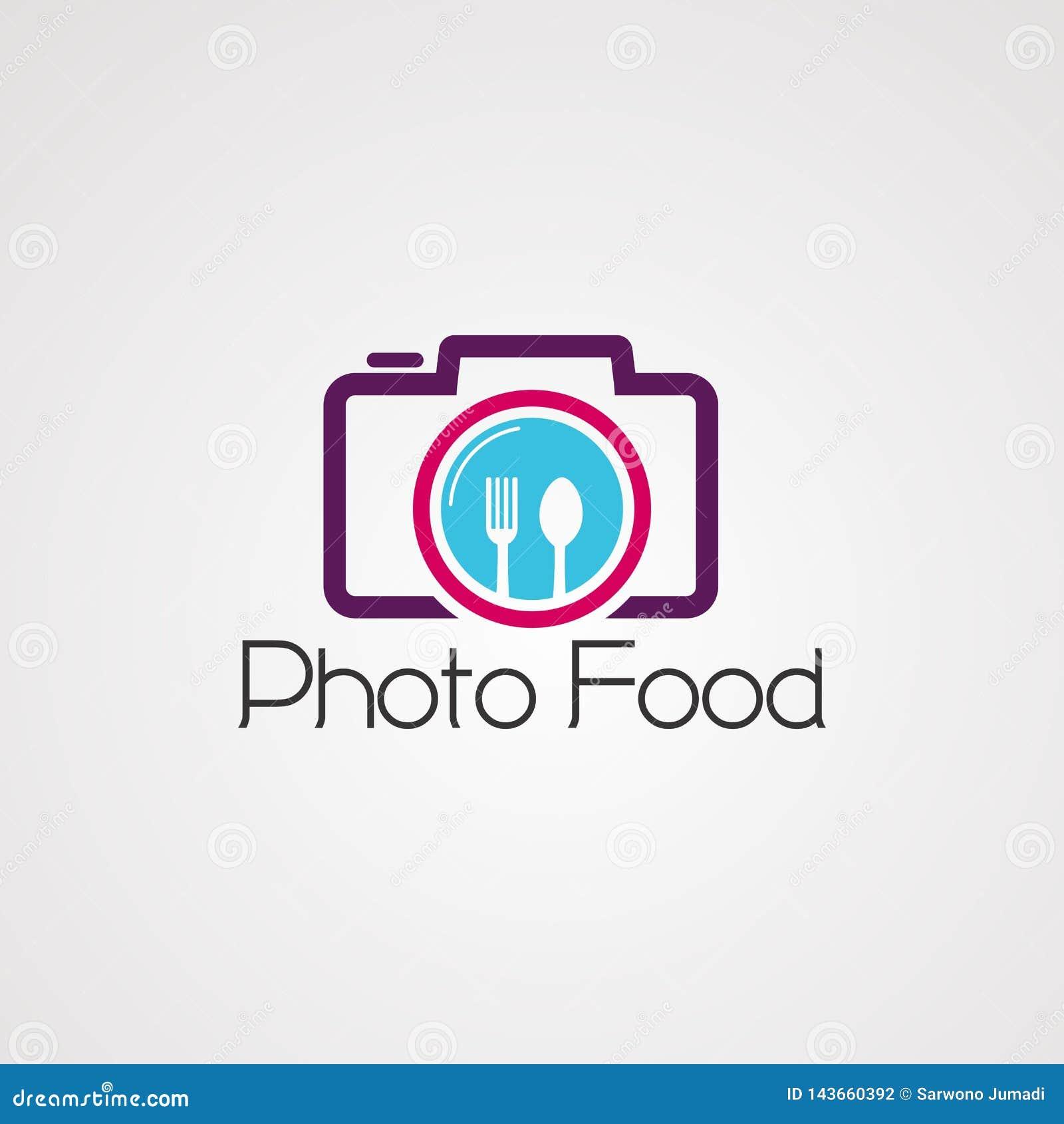 Fotovoedsel op de vector, het pictogram, het element, en het malplaatje van het cameraembleem voor bedrijf