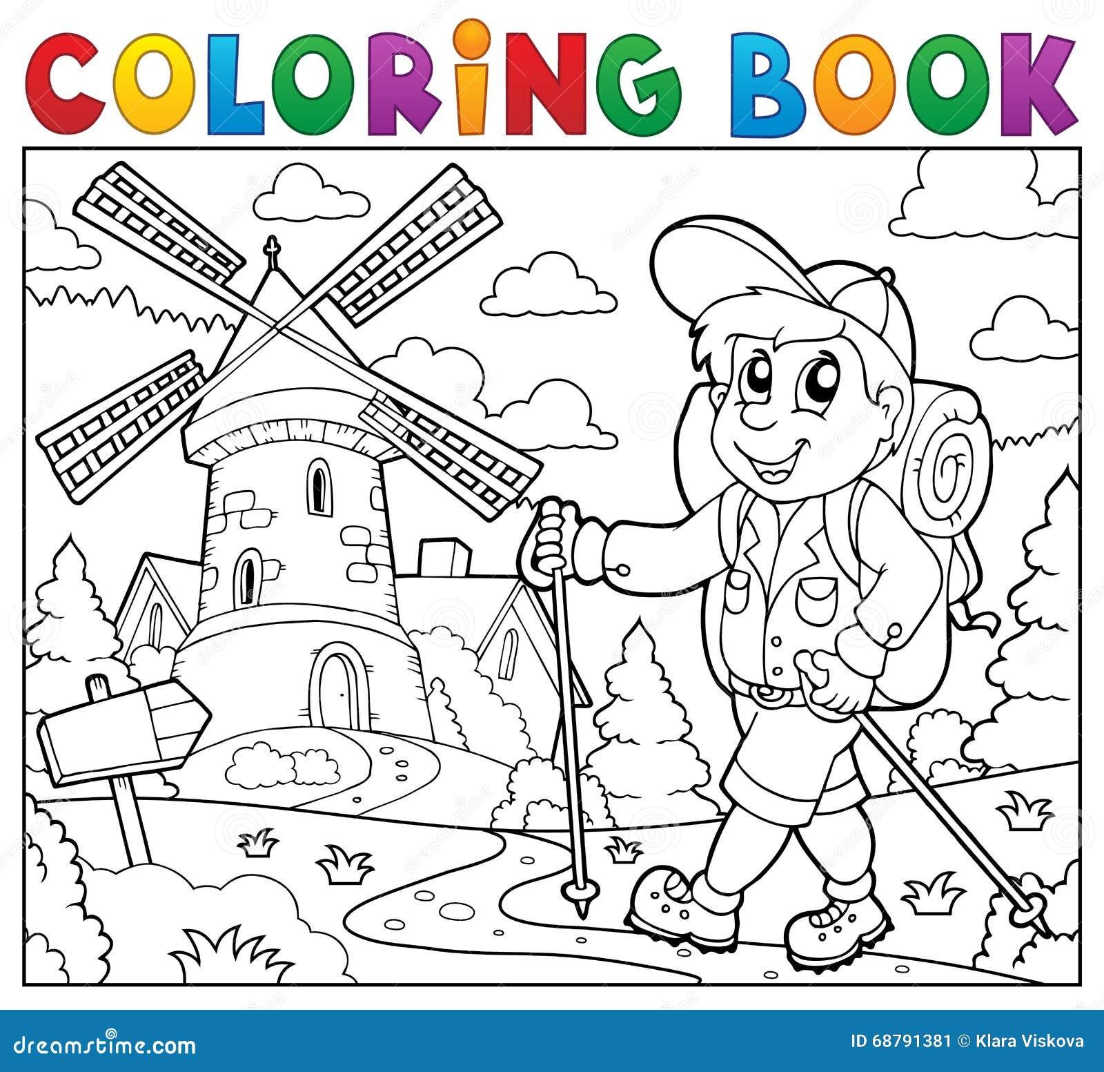 Fotvandrare för färgläggningbok nära väderkvarnen