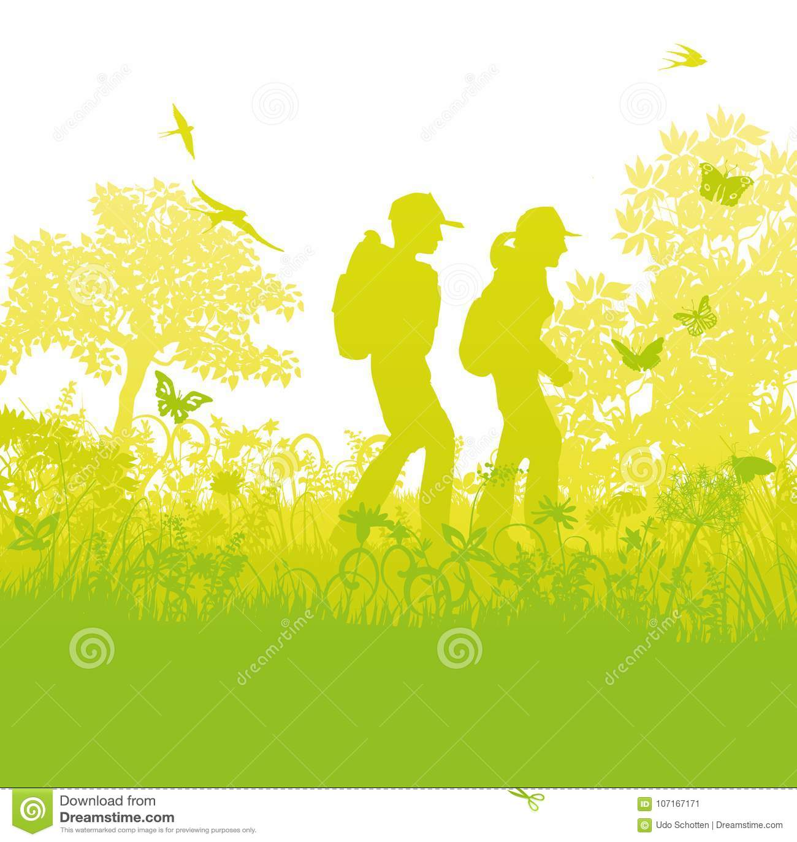 Fotvandrare i skogen