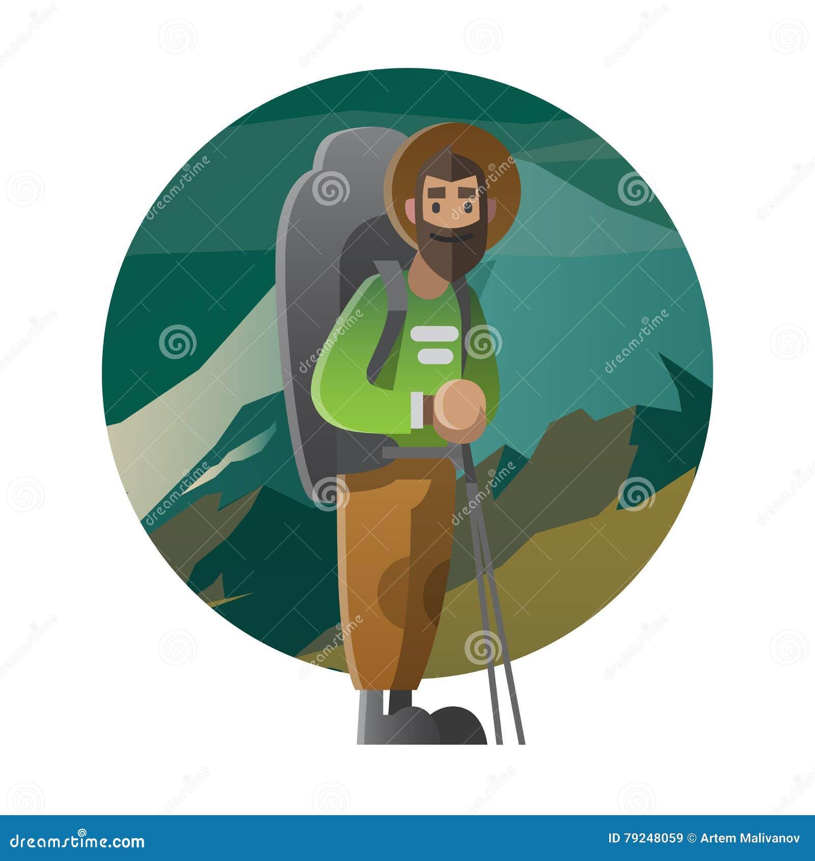 Fotvandrare med den enorma ryggsäcken Trekking och att fotvandra och att klättra och att resa