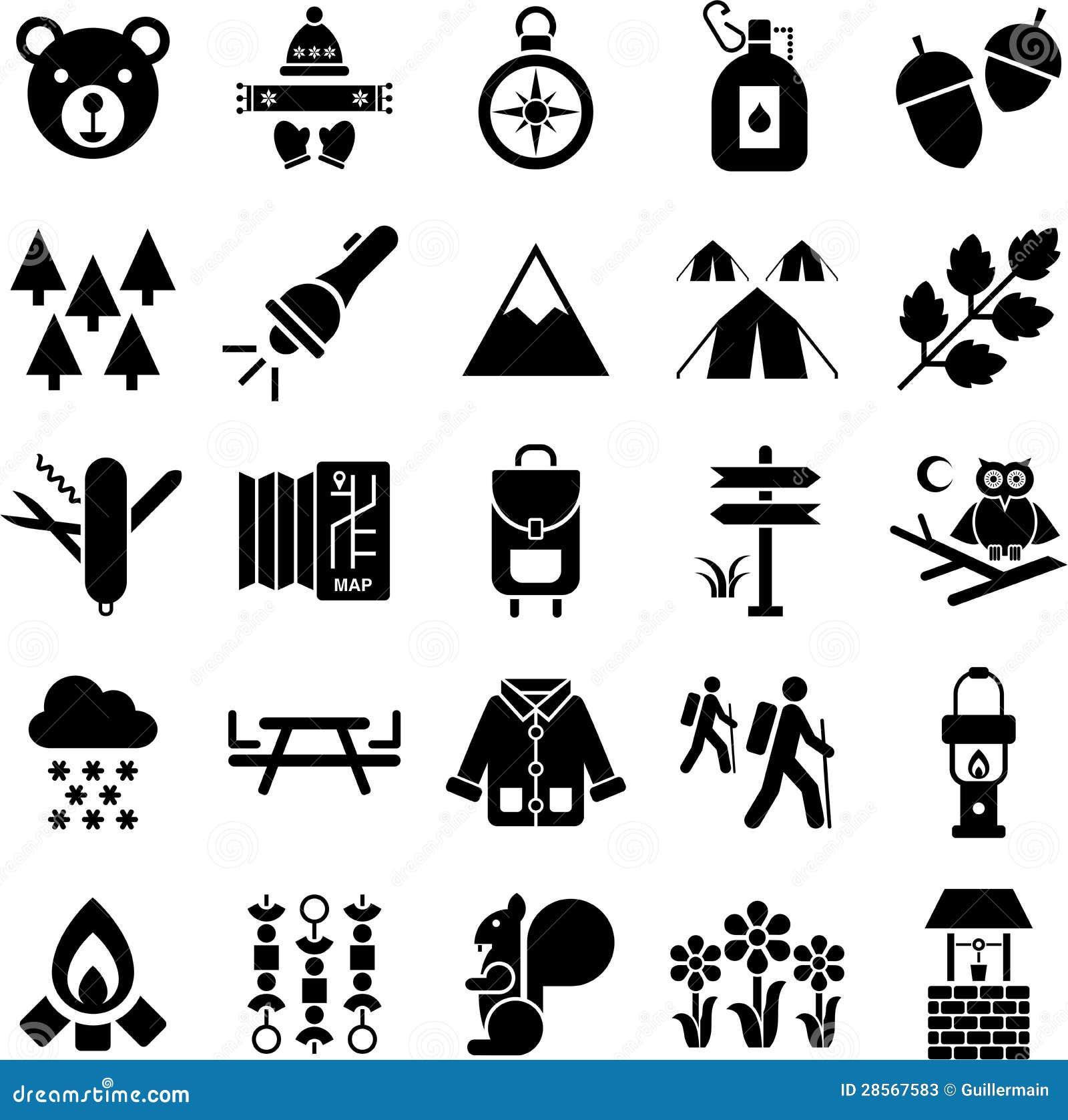 Fotvandrare- och bergsymboler