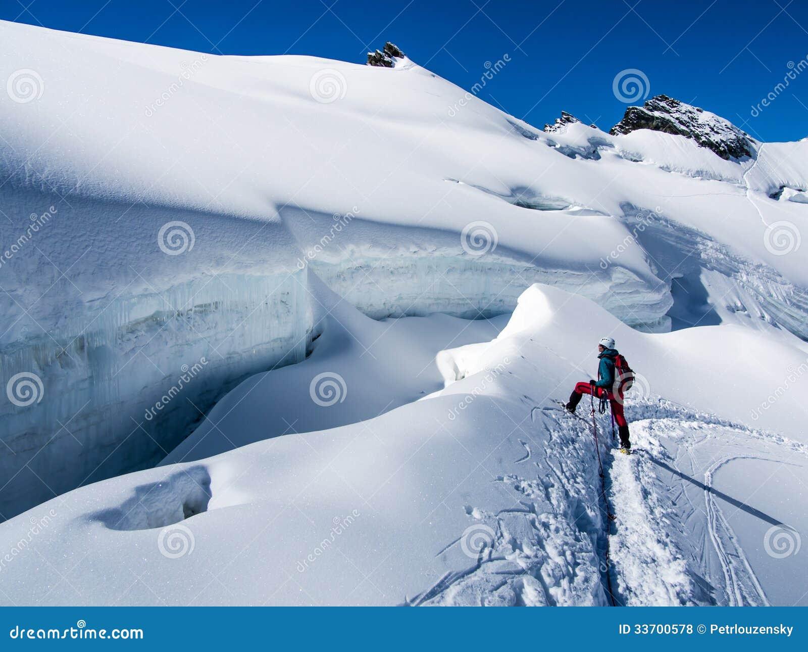 Fotvandrare på glaciären