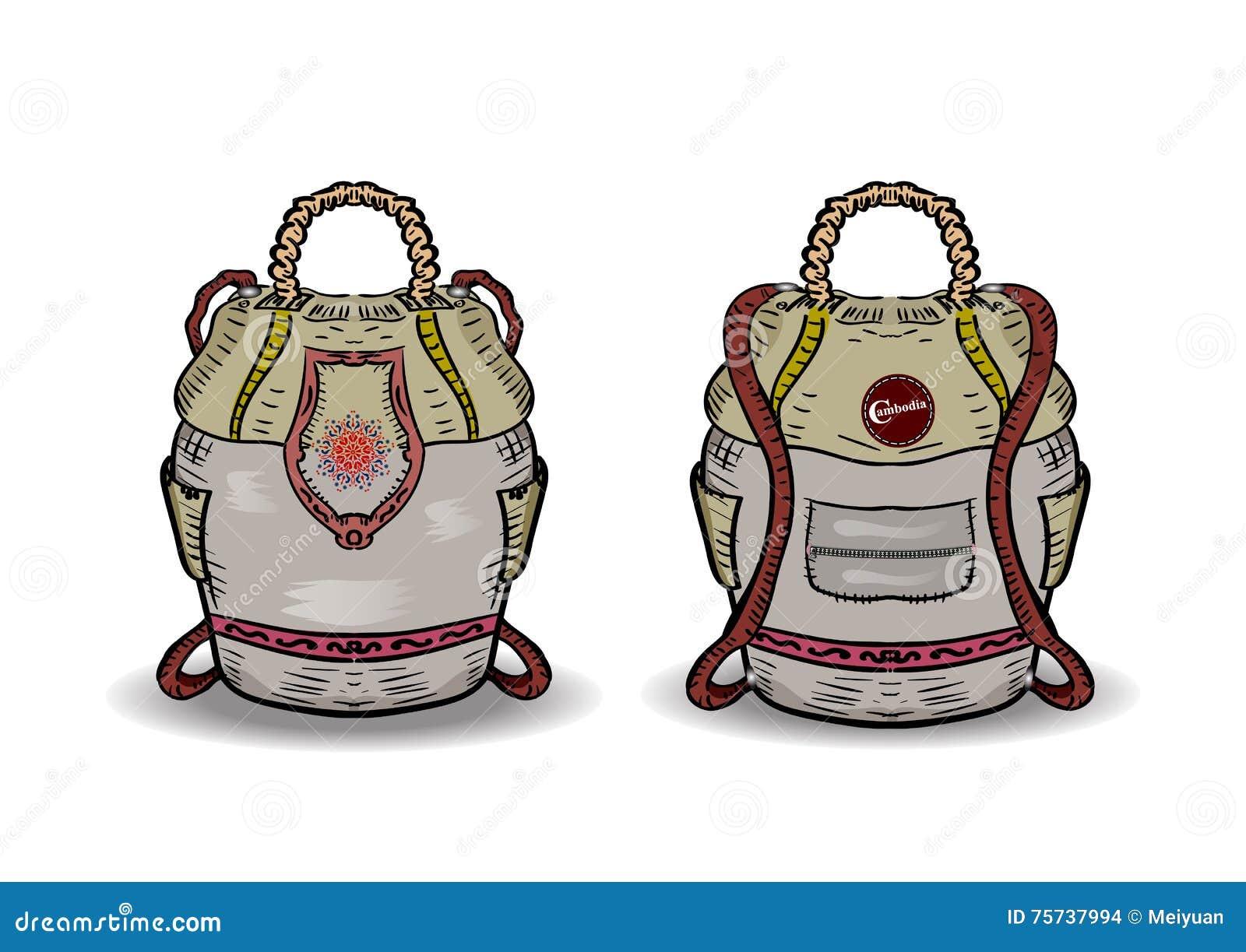 Fotvandrare Vektorbild av den turist- ryggsäcken