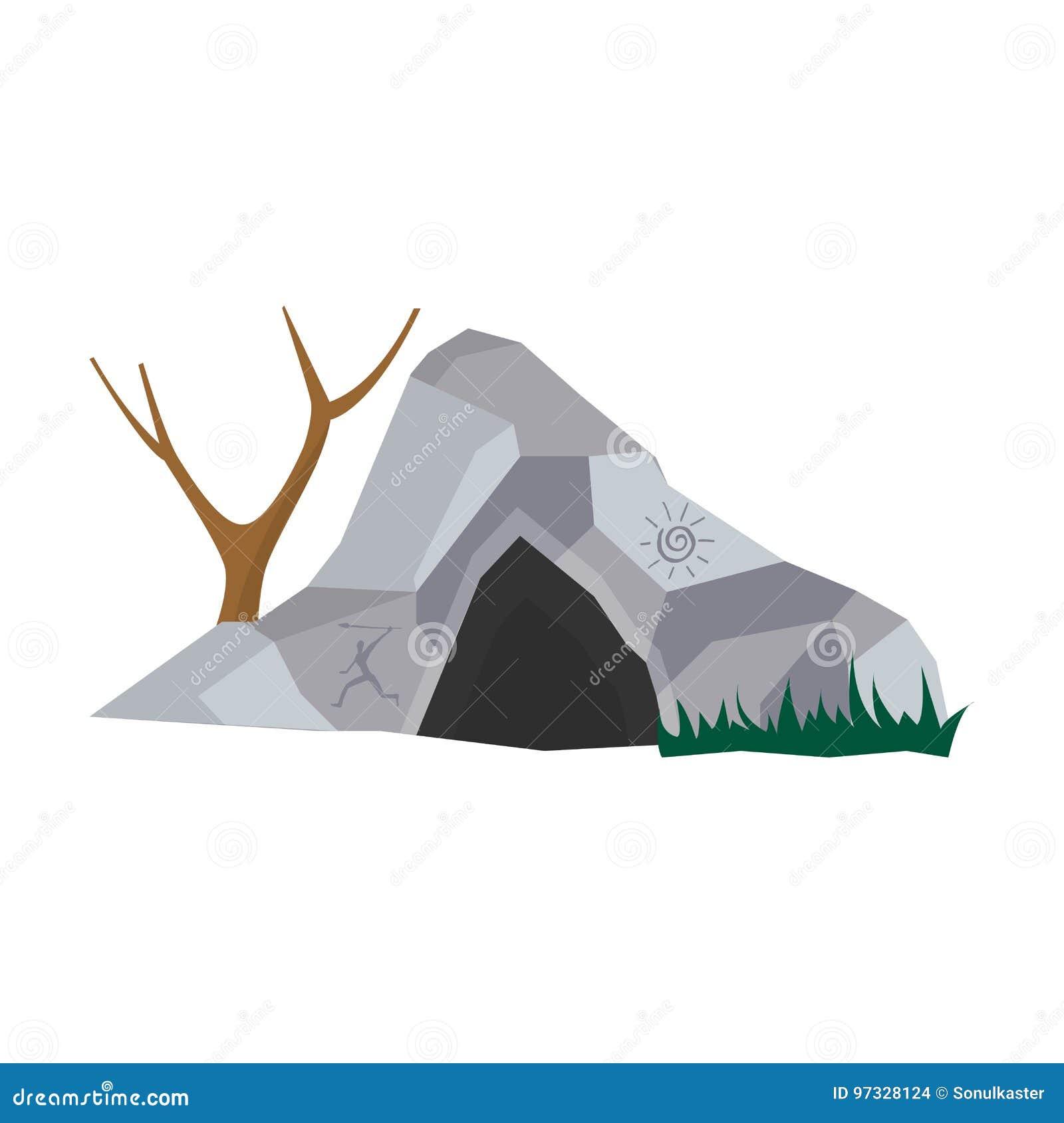 Foudroyez dans la maison en pierre pour les personnes préhistoriques avec l entrée