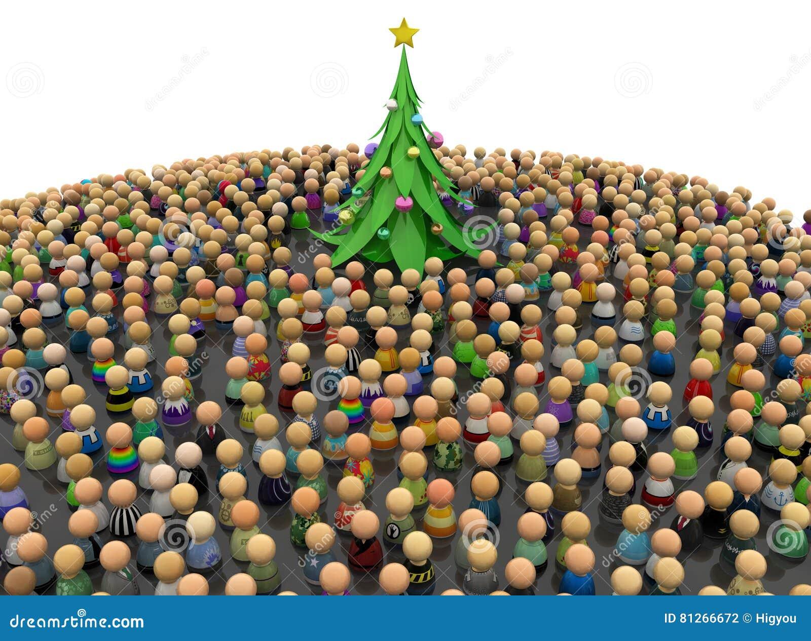 Foule de bande dessinée, arbre de nouvelle année