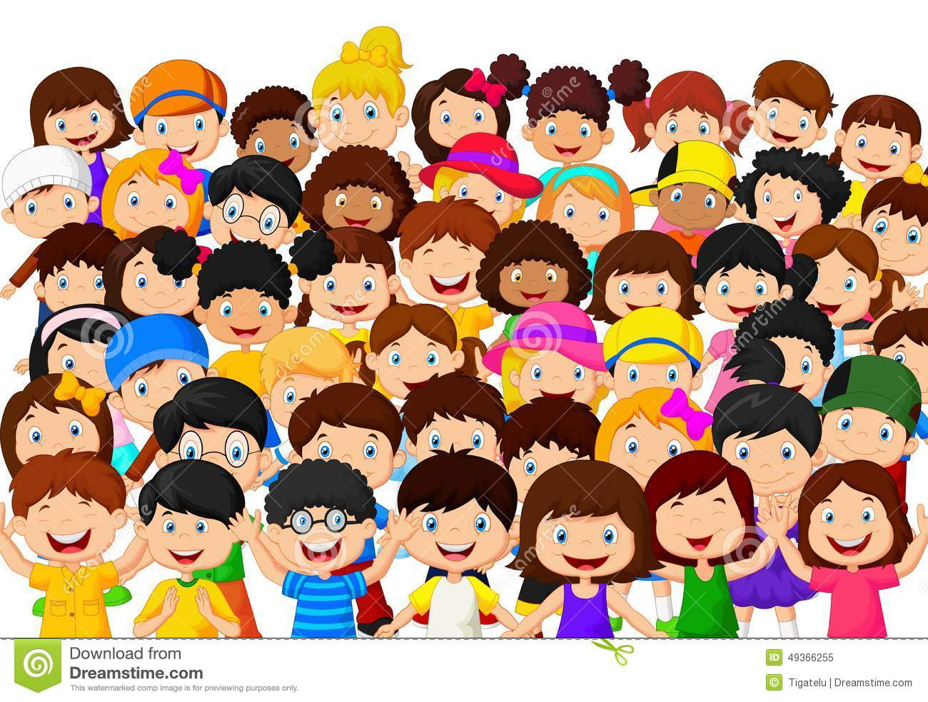foule de bande dessin u00e9e d enfants illustration de vecteur cap clipart cap clipart black and white