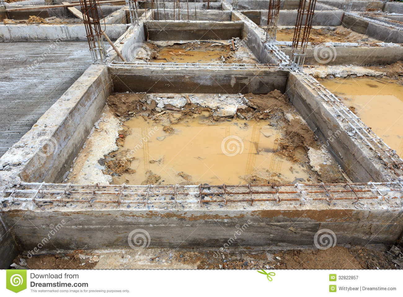 A Foundation Construction For Home Building Royalty Free