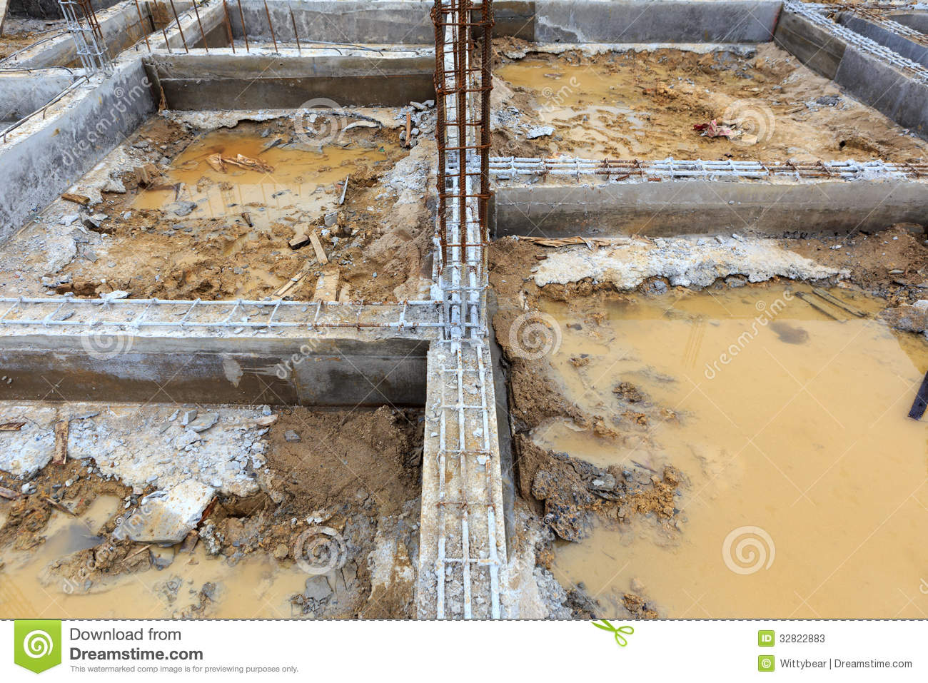 A foundation construction for home building stock image for What is the best foundation for a house