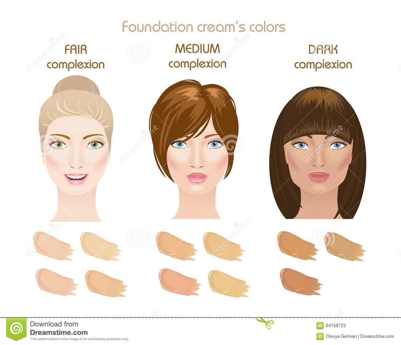 Foundation cream 39 s colors stock illustration image 64158723 for How to find a medium