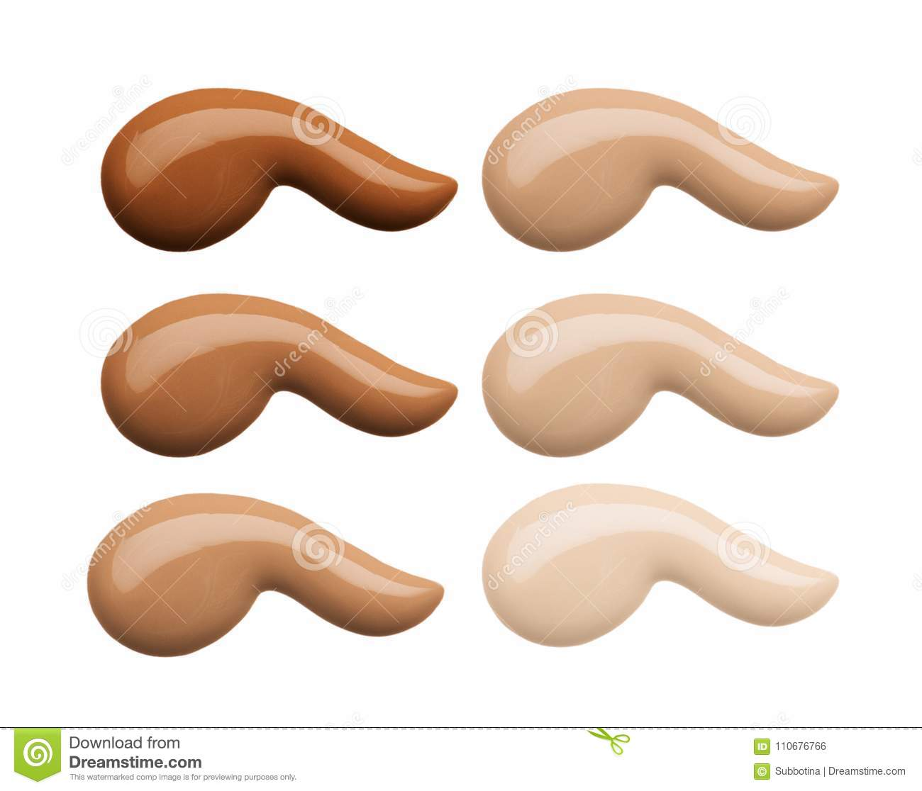 Foundation face makeup samples. Set of cosmetic liquid foundation or cream in different colour smudge smear strokes. Make up smear