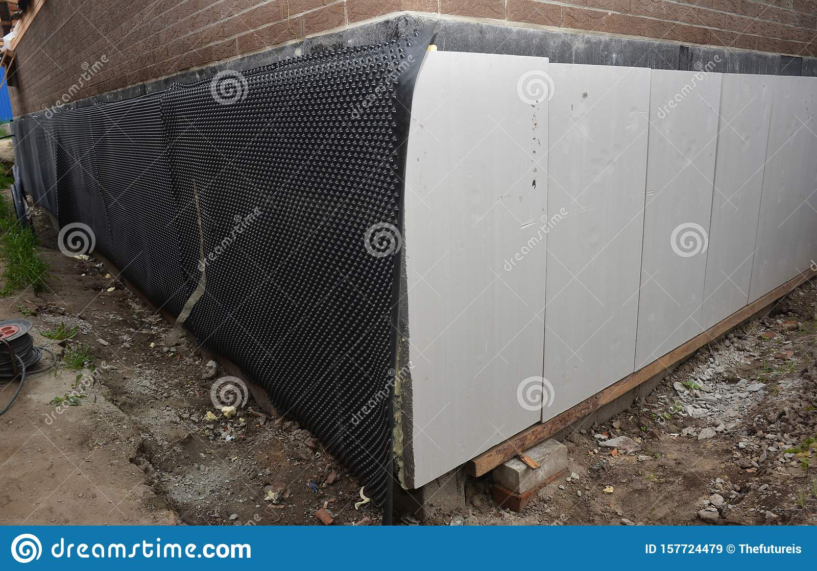 Foundation Foam Insulation Boards With Waterproofing Damp Proofing Passive House Foundation Insulation And Waterproofing For Stock Image Image Of Repair Foam 157724479