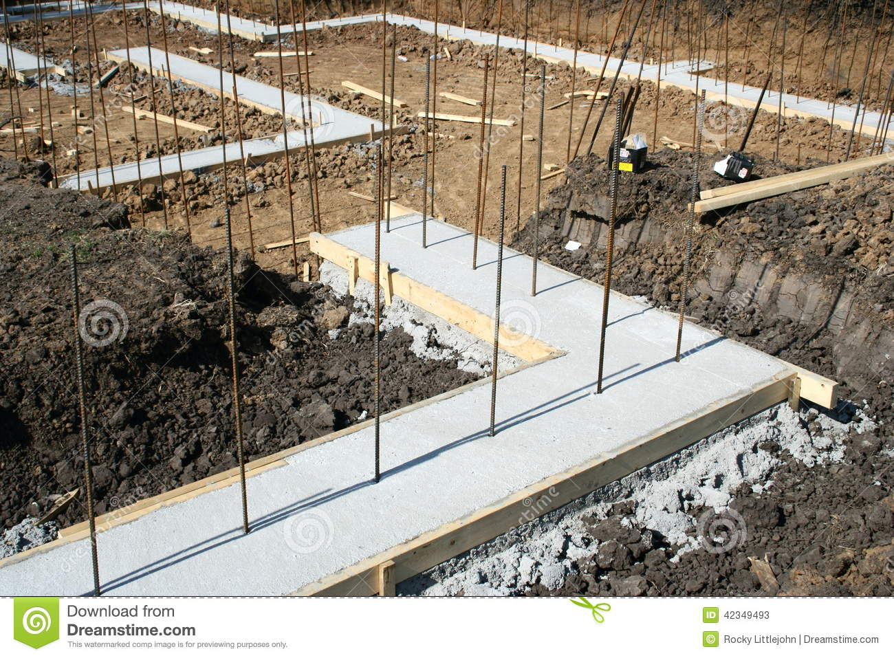 Foundation Footing Stock Image Image Of Site Concrete