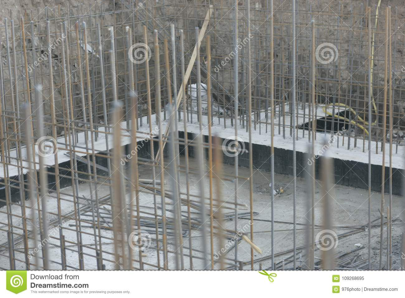 Foundation Site Of New Building Stock Image - Image of iron ...