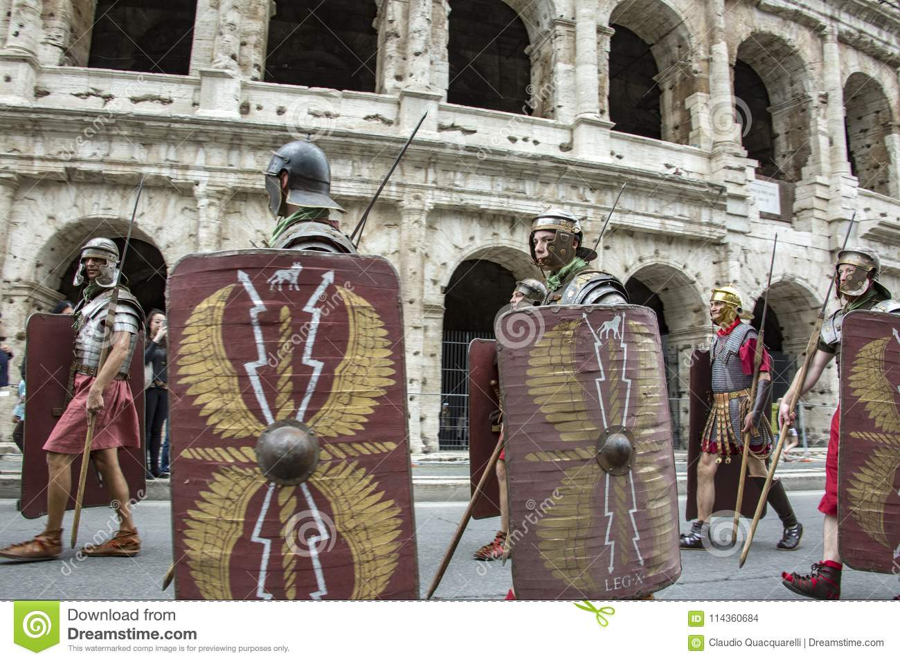 the founding of rome parade through the streets of rome editorial