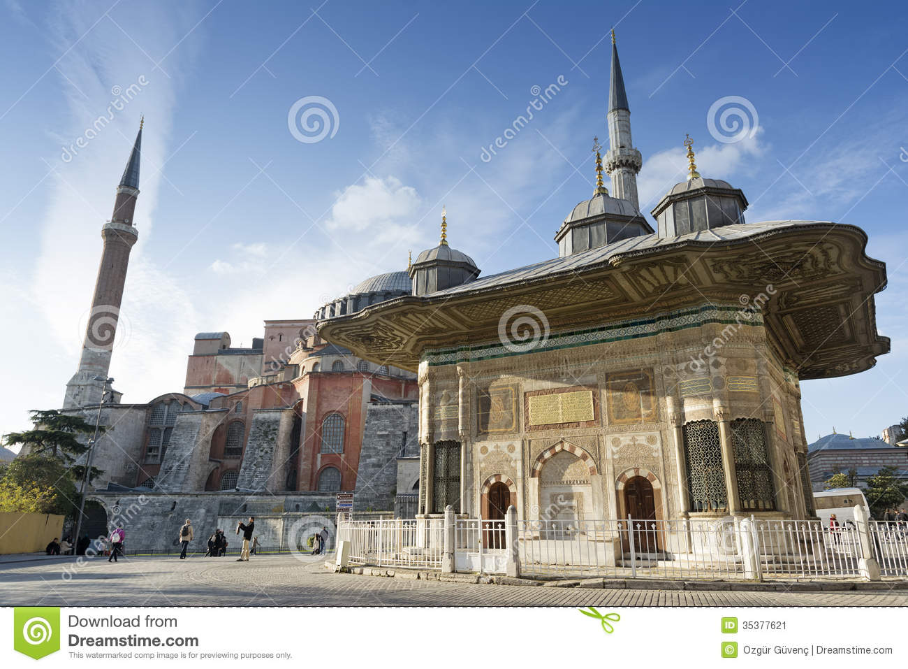 Fountain Of Ahmet Iii And St Sophia Istanbul Turkey