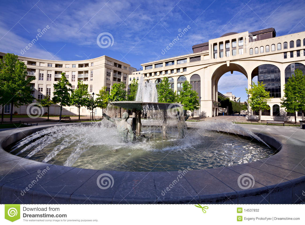 fountain in antigone of montpellier france stock photo image of thessalie history 14537832. Black Bedroom Furniture Sets. Home Design Ideas
