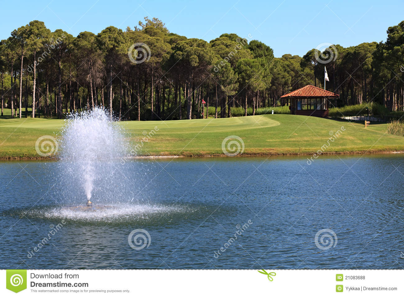 Fountain in the artificial pond royalty free stock photos for Artificial pond