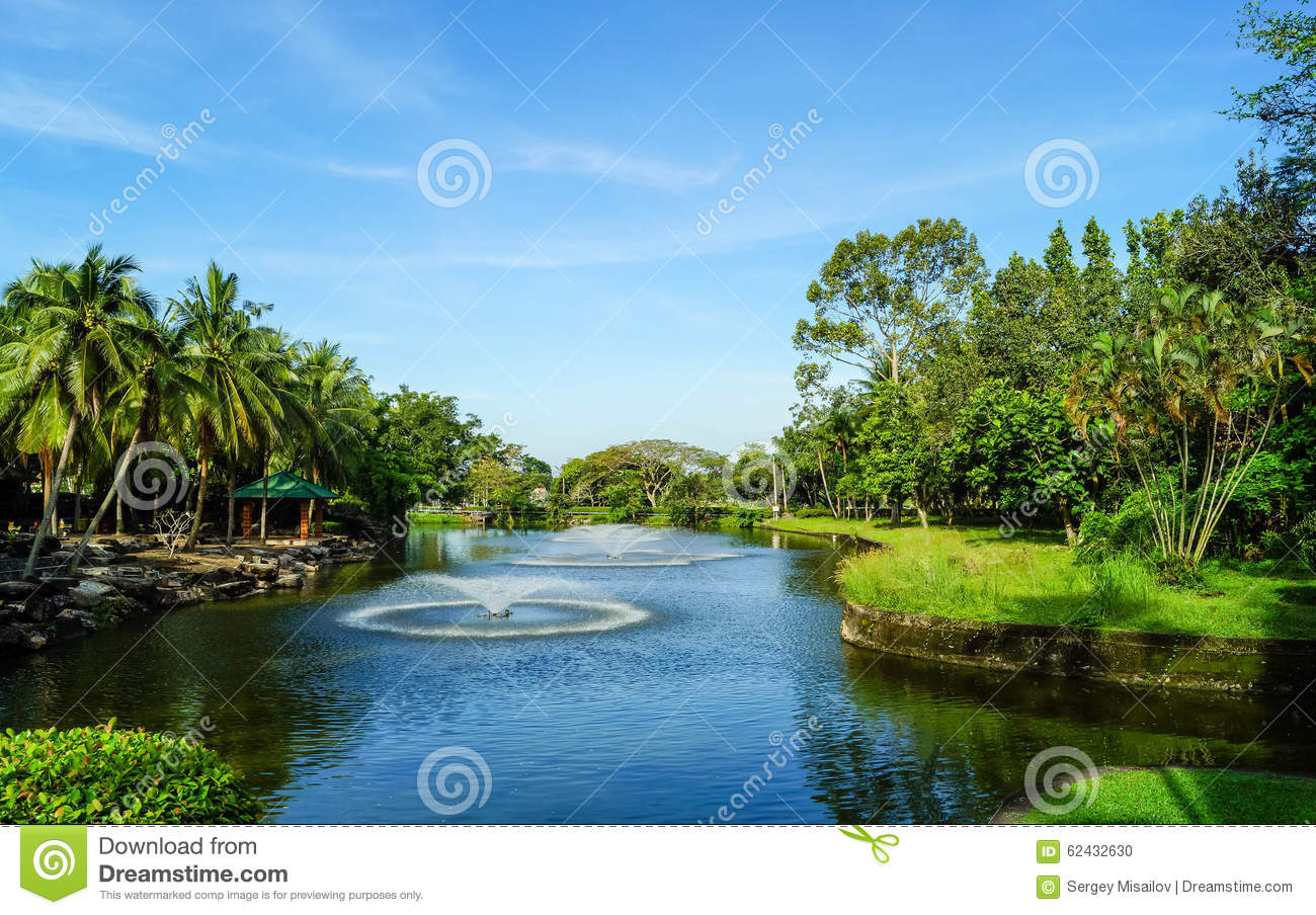 Fountain in the artificial pond stock photo image 62432630 for Artificial pond