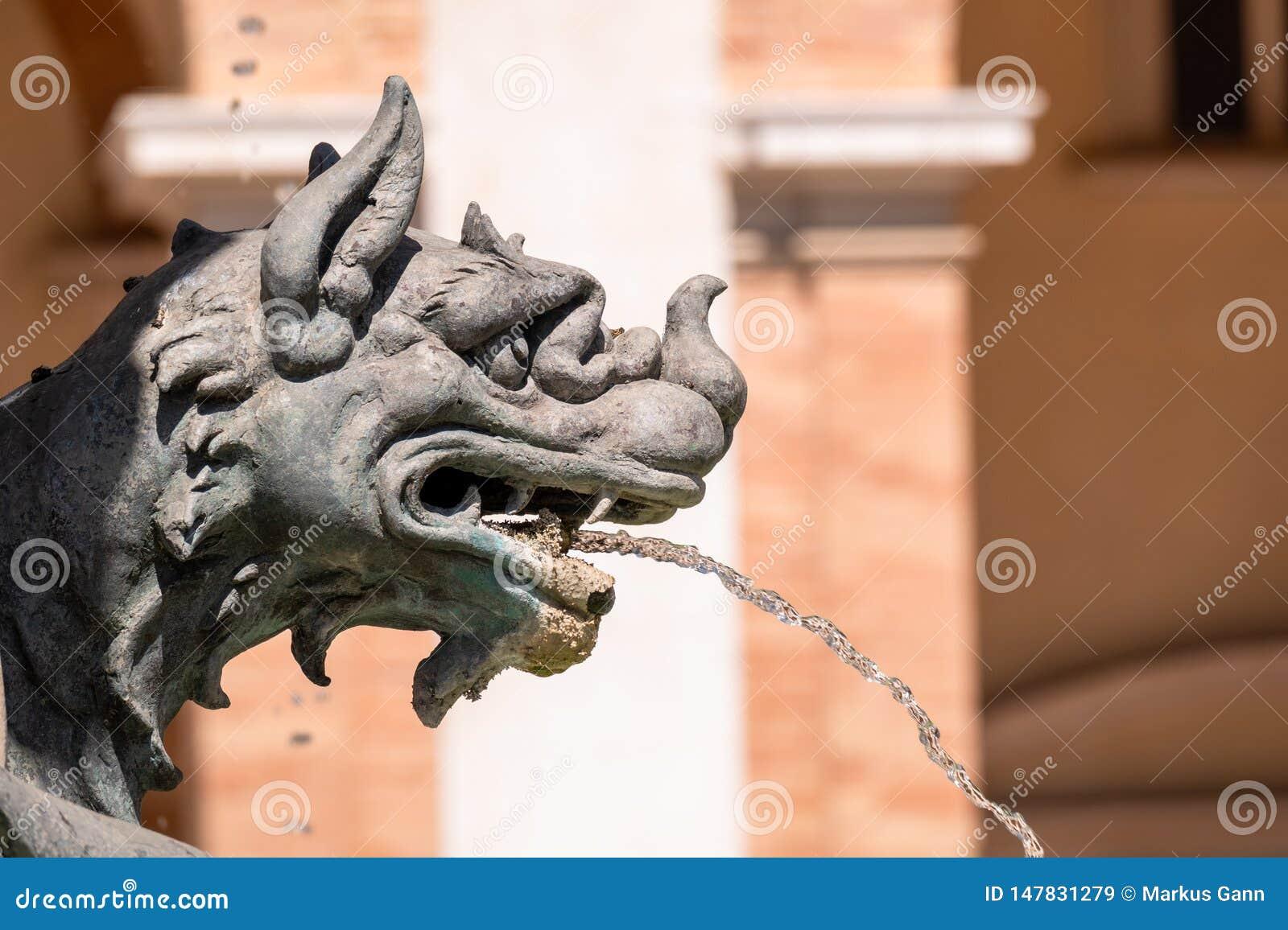 fountain at the Basilica della Santa Casa in Italy Marche