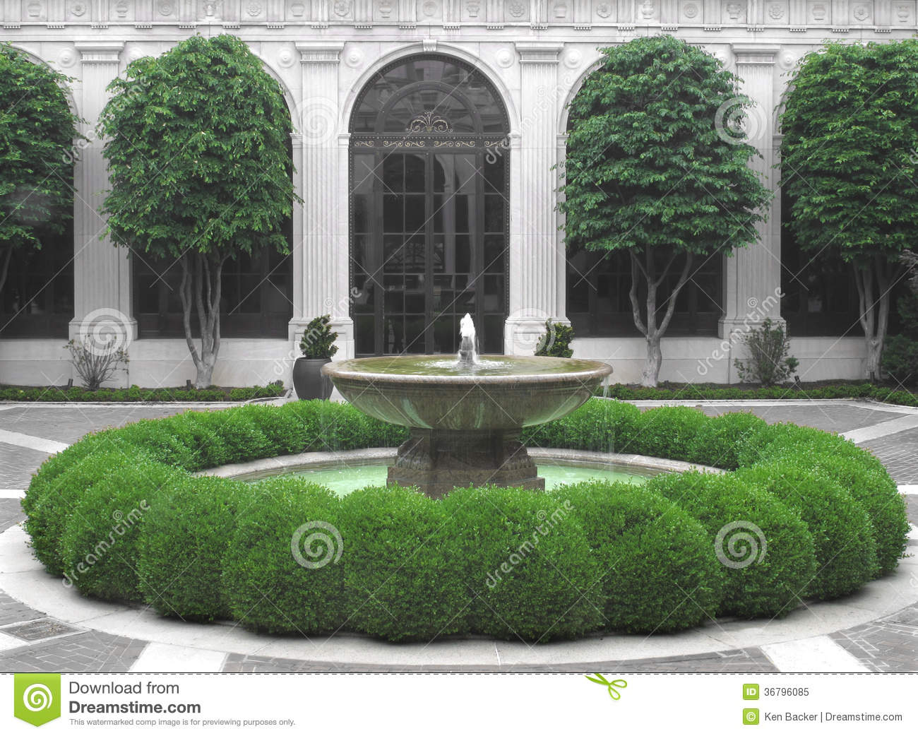 Fountain In A Courtyard Royalty Free Stock Photo Image