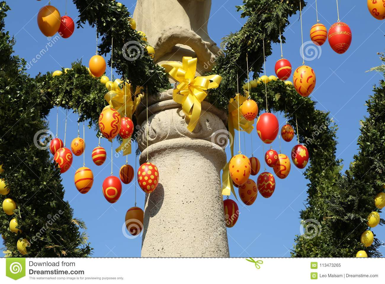 Fountain Decorated Easter Eggs Stock Image Image Of Background