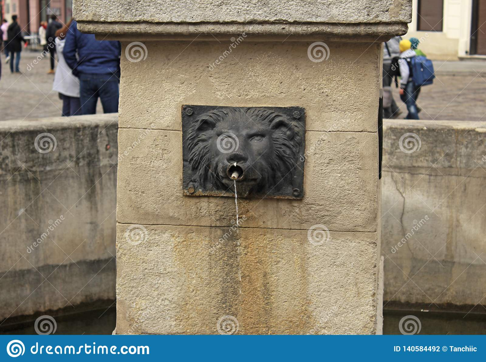 Fountain in the form of a lion`s head in Lviv, Ukraine