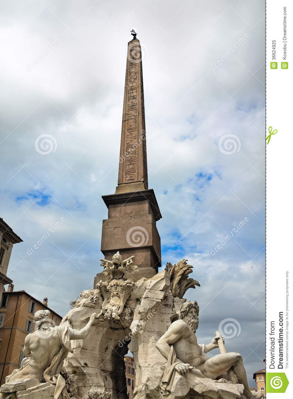 Fountain Of The Four Rivers Piazza Navona Rome Italy
