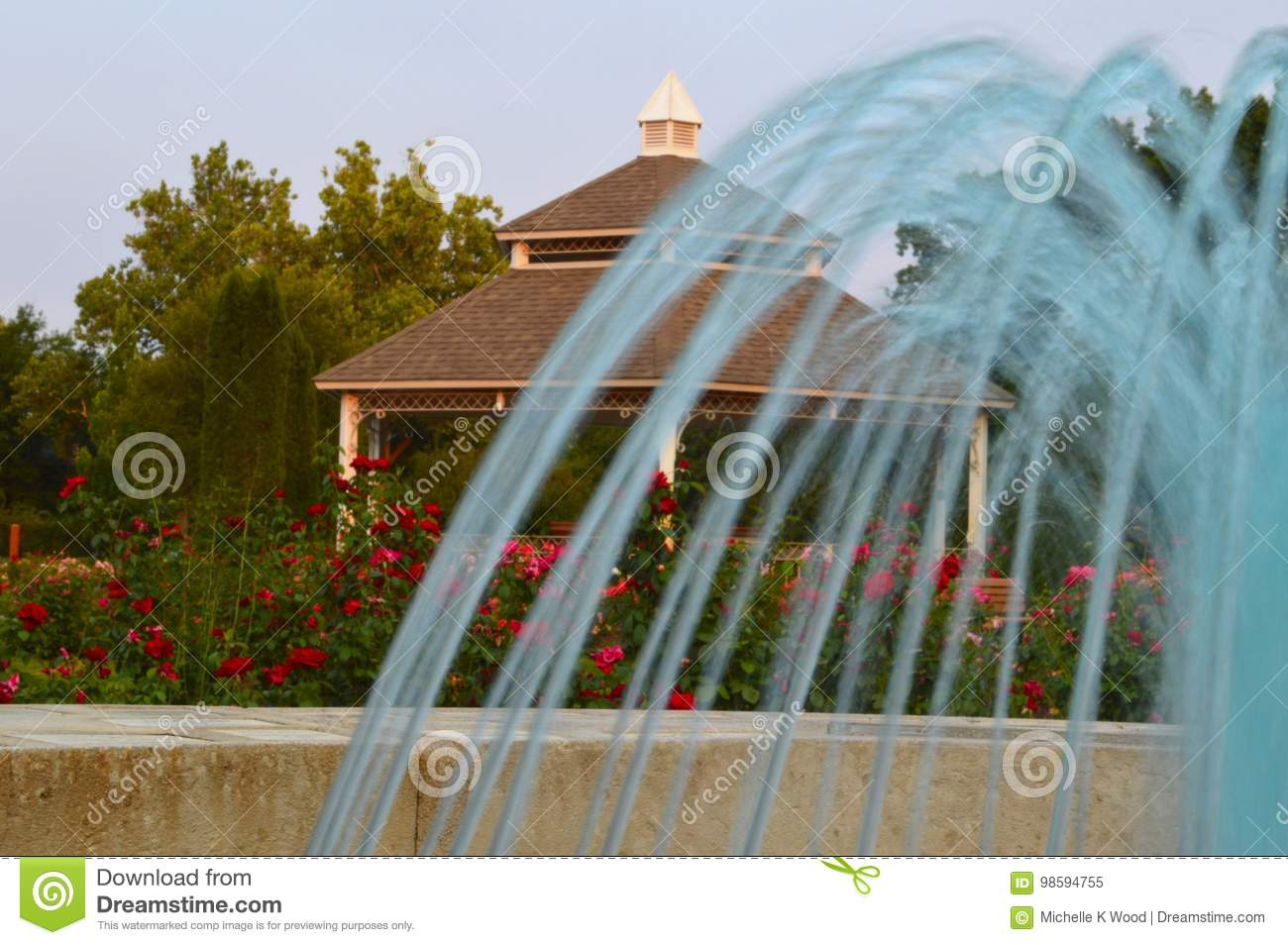 Fountain Gazebo and Roses