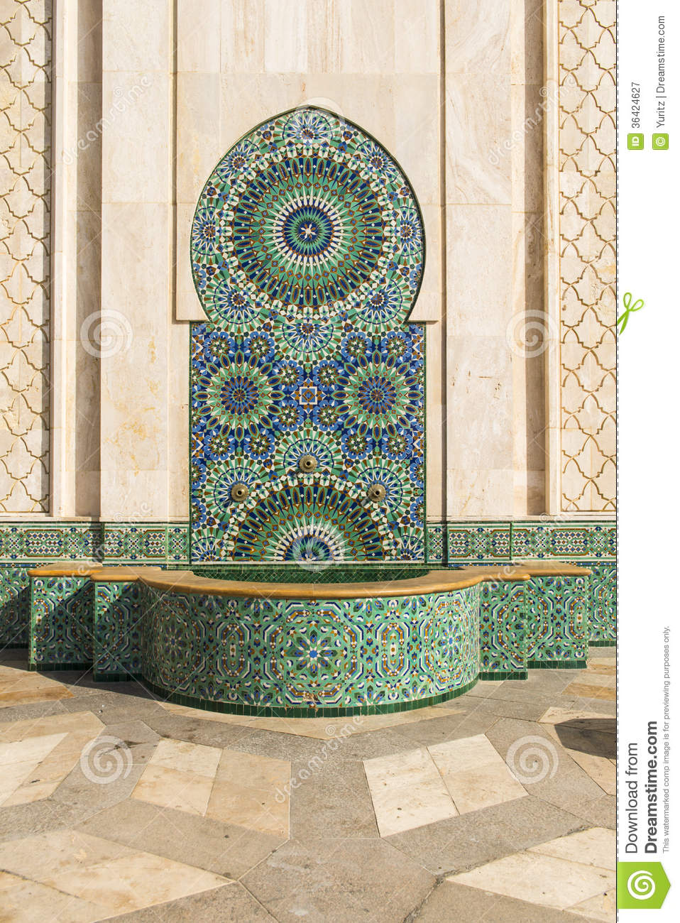 Fountain Of Hassan Ii Mosque Royalty Free Stock