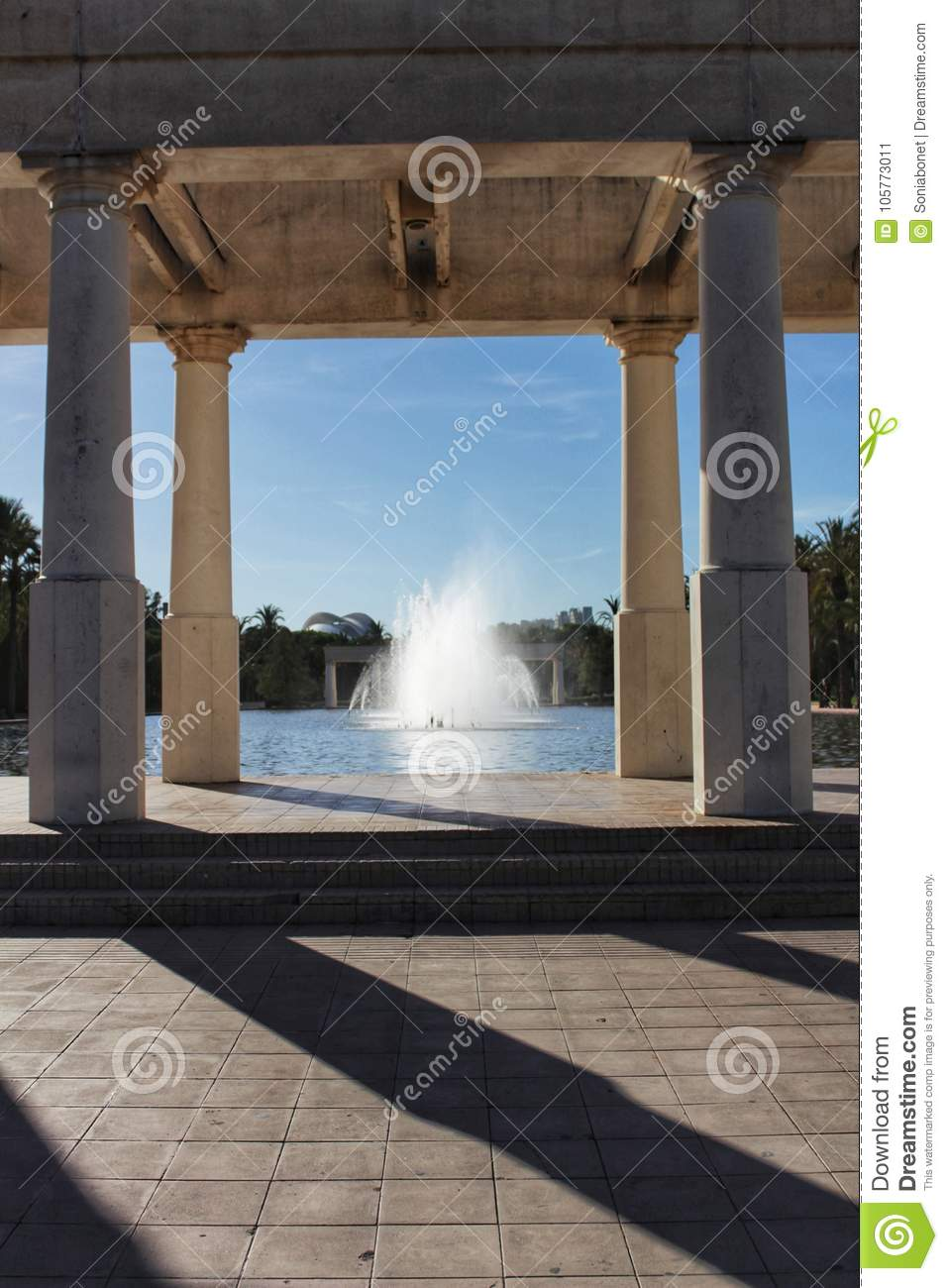 Download Fountain With Monumental Pillars In Valencia Garden Stock Image    Image Of Architecture, American