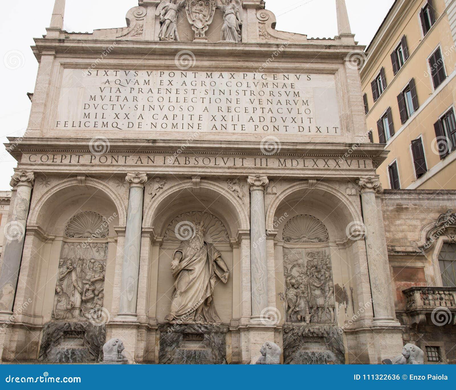 Fountain Of Moses Fountain Acqua Felice In City Of Rome