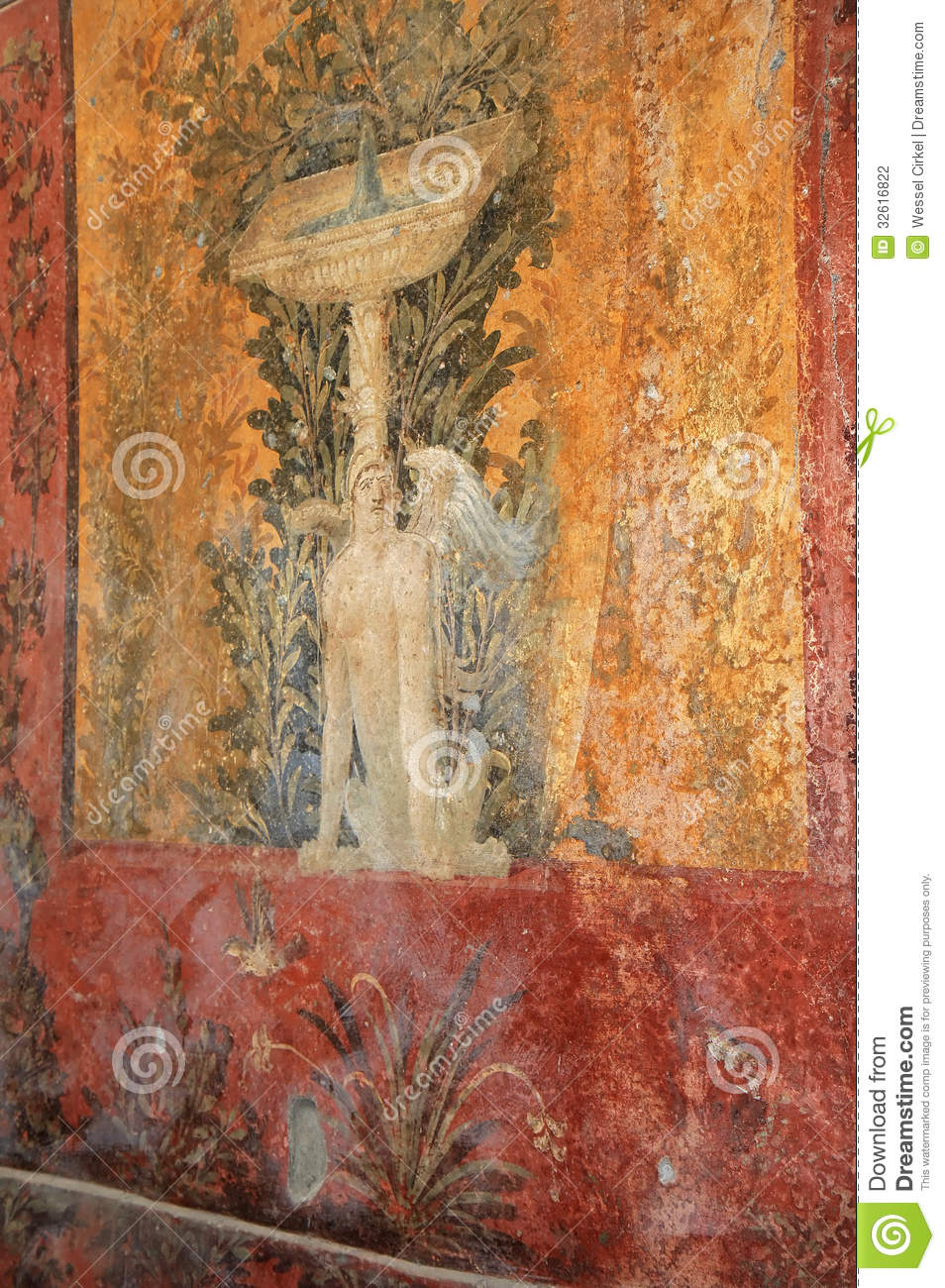 Fountain mural in the roman villa poppaea italy stock for Ancient mural villa