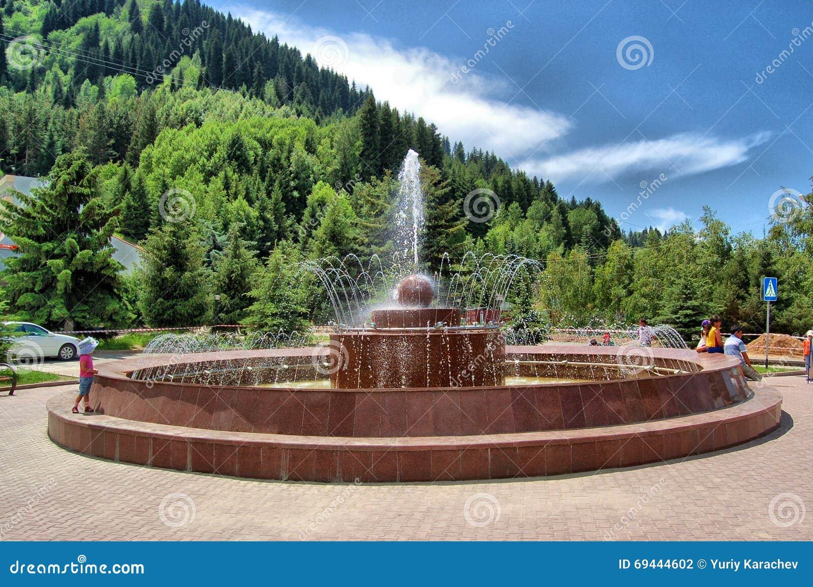 Fountain Near Highland Ice Complex MEDEO Almaty, Editorial