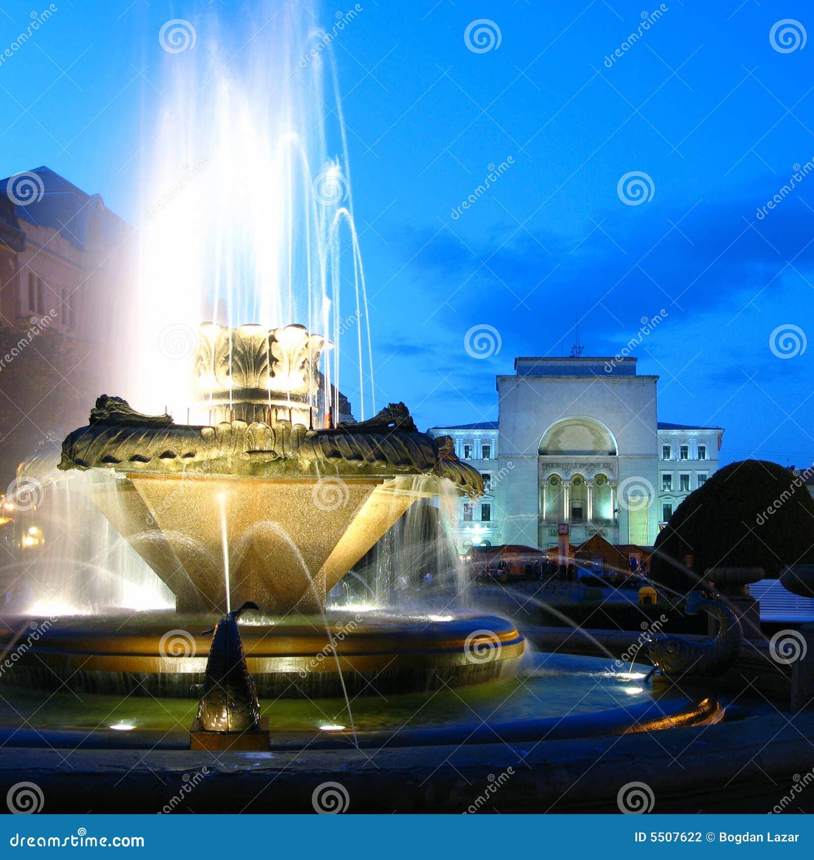 Fountain in Opera Square, Timisoara, Romania