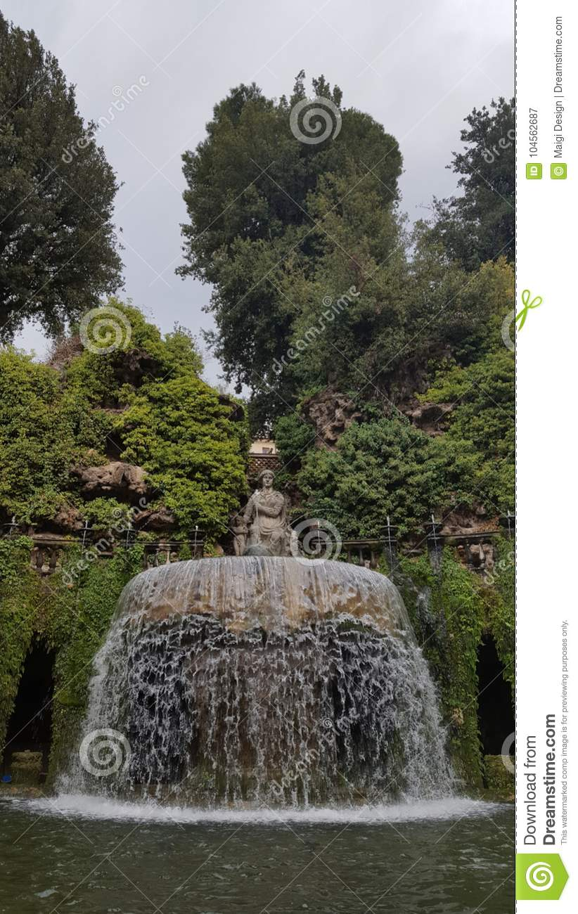 Download Fountain Of The Ovato In The Garden Of Villa D'Este Stock Image - Image of world, yard: 104562687