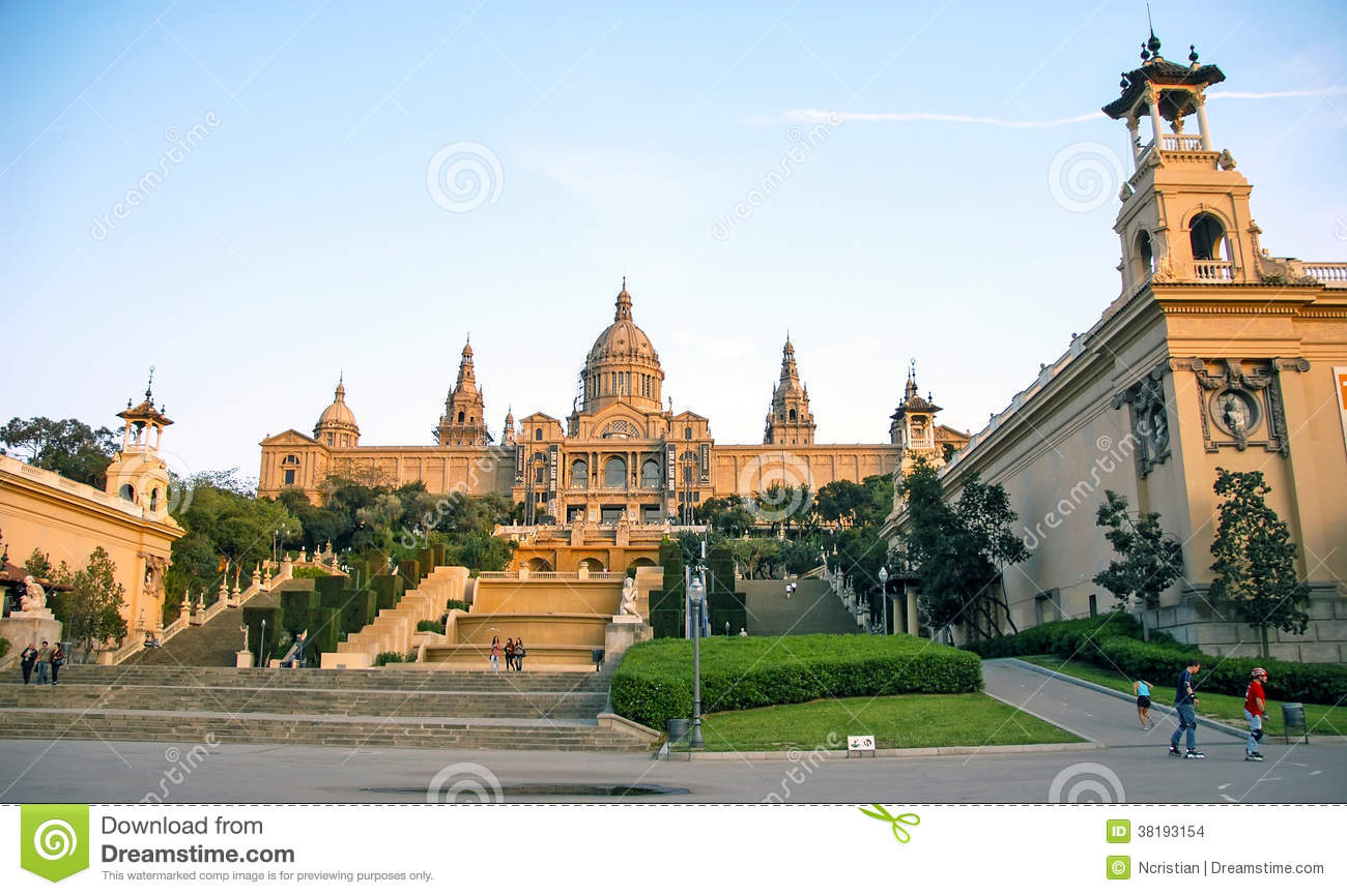 Fountain And Palace From Montjuic Square Editorial Stock