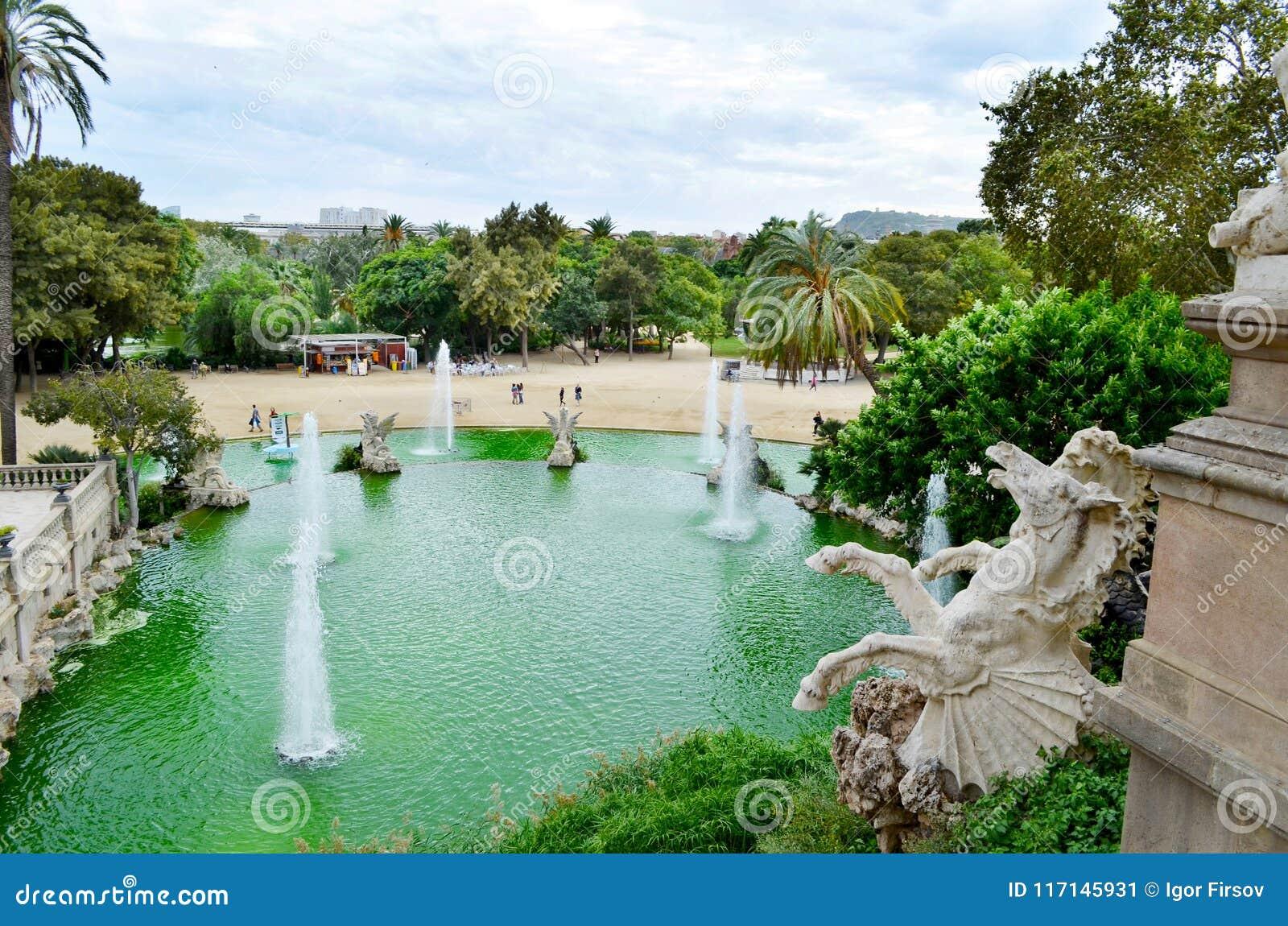 View of Barcelona, Spain. Fountain at Parc Citadel park de la Ciutadella