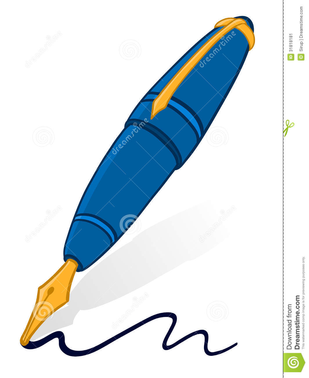 Line Art Pens : Fountain pen stock vector illustration of penmanship