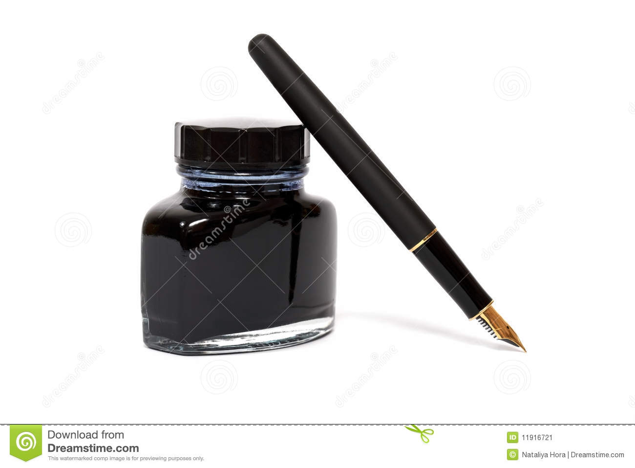 Fountain Pen With The Ink Bottle Stock Image - Image: 11916721