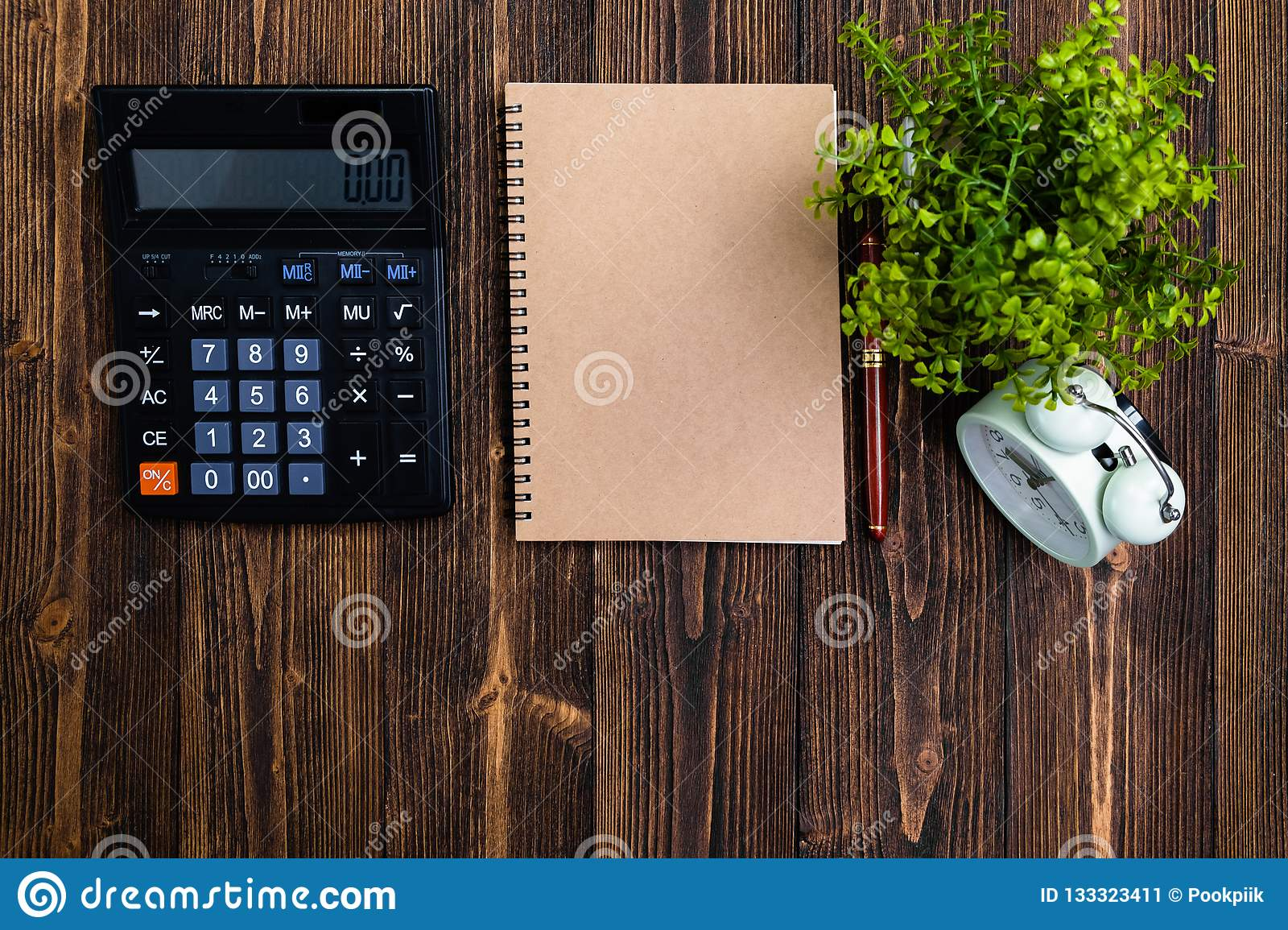 Fountain Pen Or Ink Pen With Notebook Paper And Calculator ...