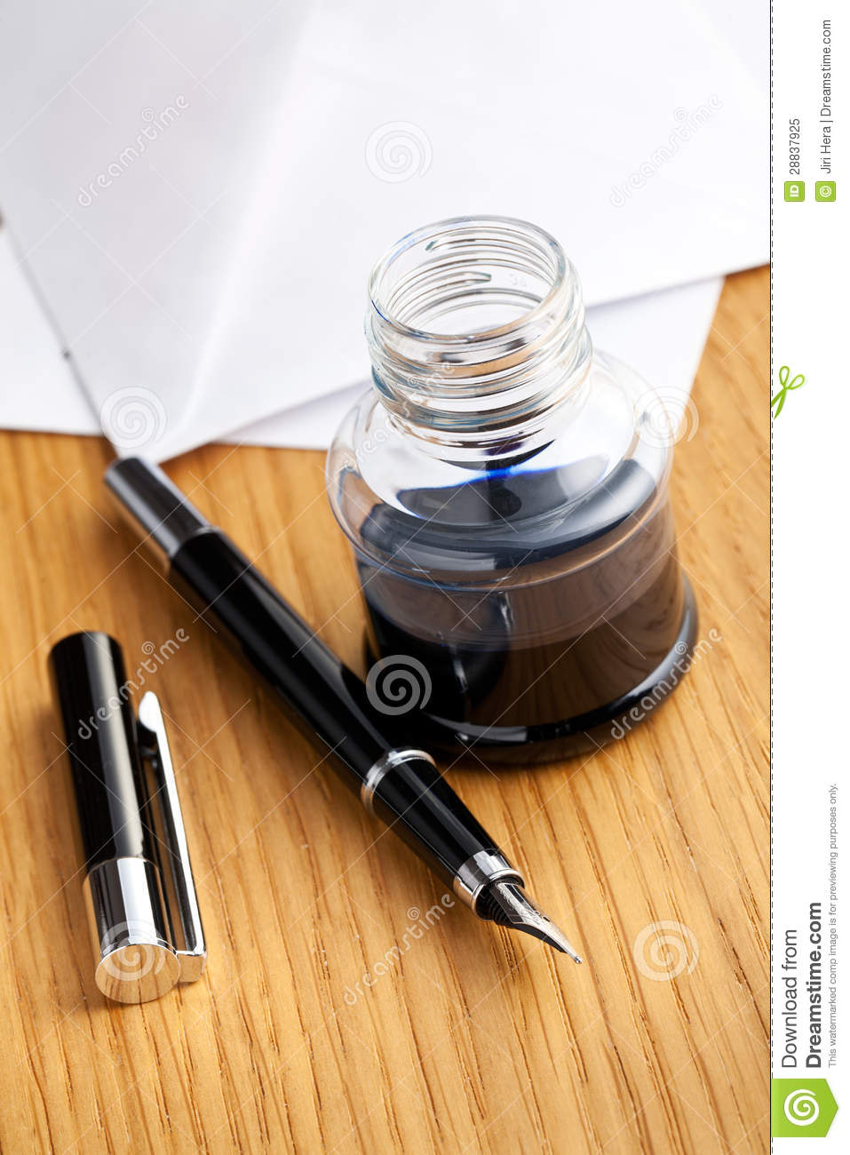 Fountain Pen And Inkwell On Desk Stock Image - Image of ...