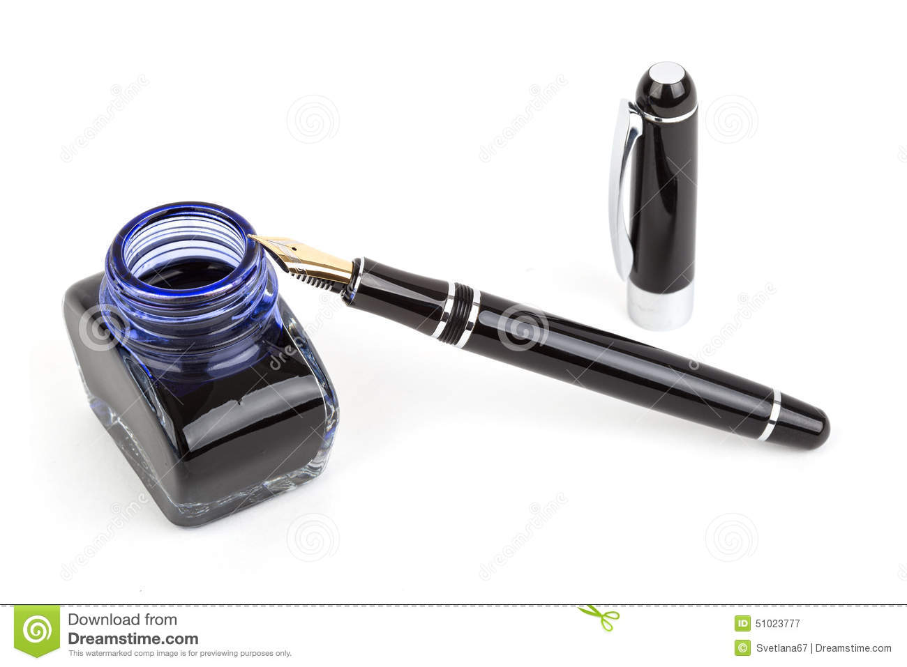 Fountain pen and inkwell over white background Fountain Pen And Inkwell