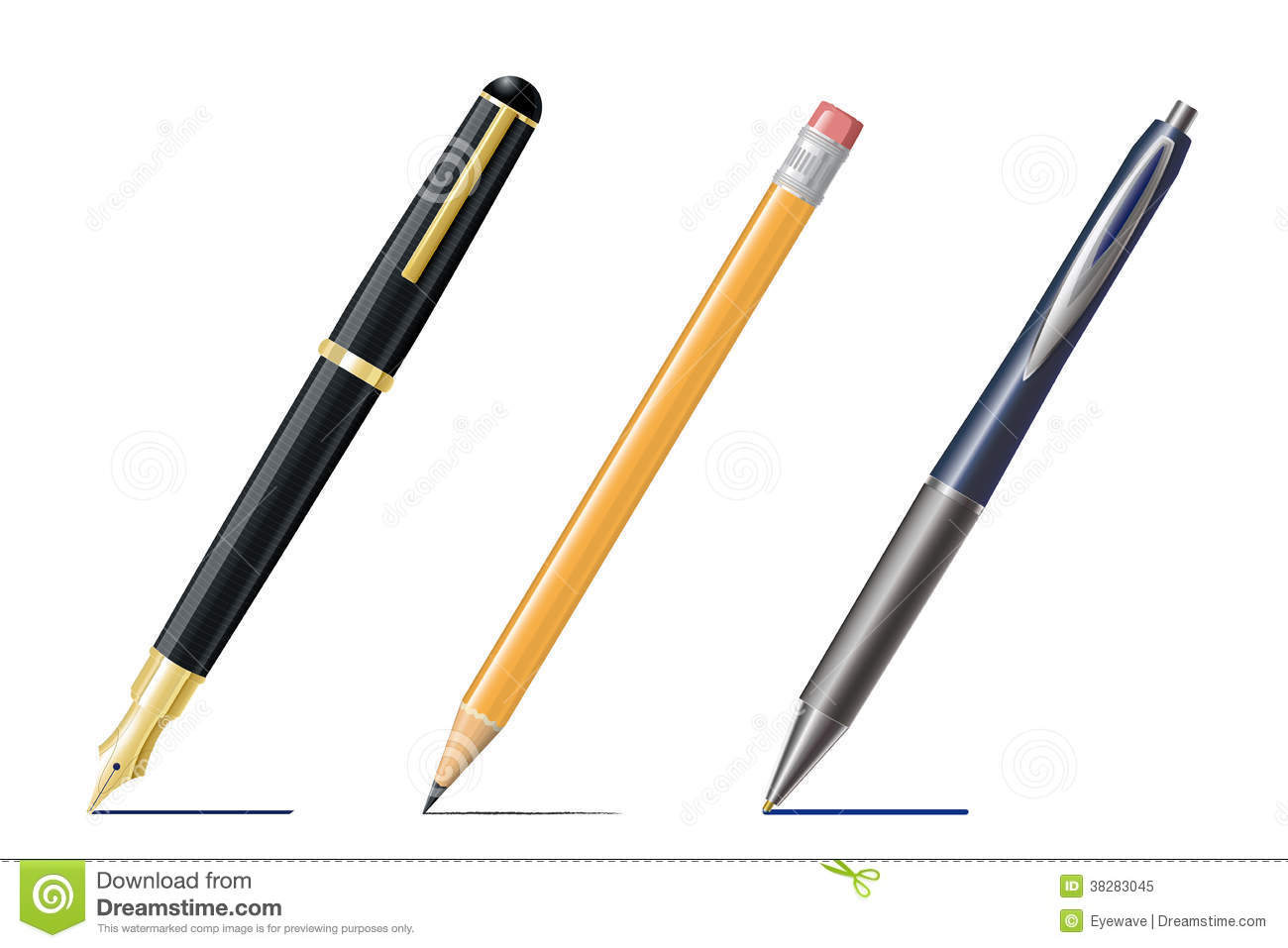 Drawing Lines With Pencil : Fountain pen pencil and ballpoint drawing lines royalty